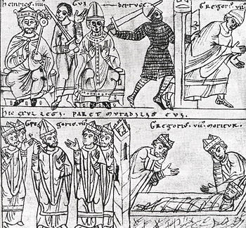 Heinrich IV. With antipope Clemens III.  (top left).  The escape (top right) and the death of Gregory VII (bottom right).  Illustration from the 12th century