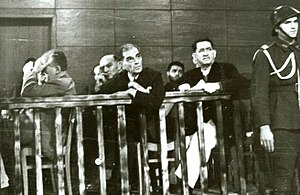 Ion Mihalache - Mihalache (first seated figure at right) during his 1947 trial