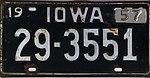 Iowa 1957 license plate - Number 29-3551.jpg