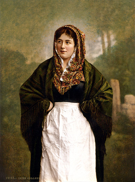 File:Irish colleen with green plaid shawl, 1890s.jpg