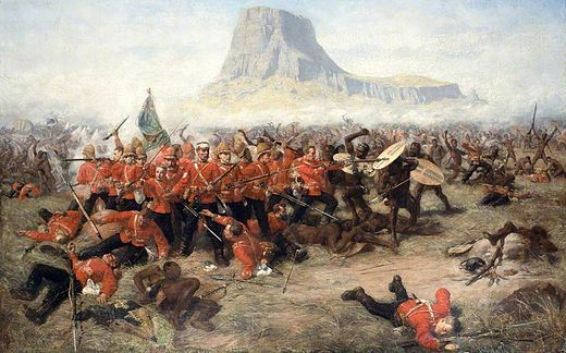 The Battle of Isandhlwana by Charles Edwin Fripp, portraying a colonial conflict between the Zulu Kingdom and the British Empire in 1879. Isandhlwana.jpg