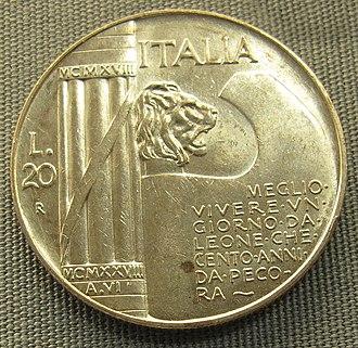 Era Fascista - A Fascist-period Italian coin dated MCMXXVIII A.VI