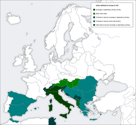 Ambitions of Fascist Italy in Europe in 1936. The map shows territories to become sovereign or dependency territory (in dark-green) and client states (in light-green). Italy aims Europe 1936.png