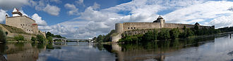 Hermann Castle - Picture showing Ivangorod Fortress (to the right) opposite Hermann Castle, with Narva River in between