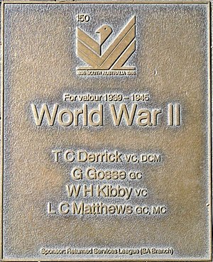 Lionel Matthews -  Jubilee 150 Walkway plaque commemorating WWII heroes