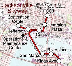 Подробная схема метро Джексонвилля.