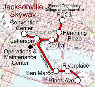 Jacksonville Skyway - System map