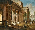 Jacobus Balthasar Peeters (Attr.) - Elegant figures before a palace with a fountain beyond.jpg