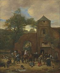 Travellers halting outside an inn