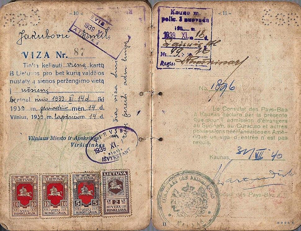Jan Zwartendijk hand signed visa from 1940