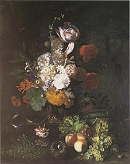 Flower piece with fruit and turf