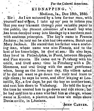 The Colored American (New York City) - This is an announcement published in the newspaper