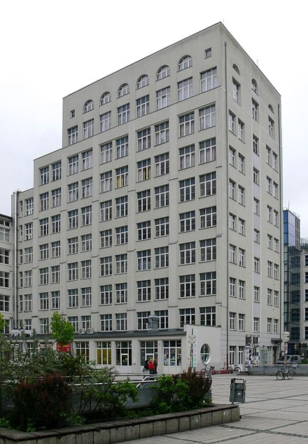 Bau 15 of the Carl Zeiss factory, Germany's first high-rise building, established in 1915 Jena Zeiss Bau 15.jpg
