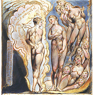Albion (Blake) - 12 Daughters of Albion; in front Gwendolen (left) and Cambel (right).  Jerusalem? Plate 81 (detail)