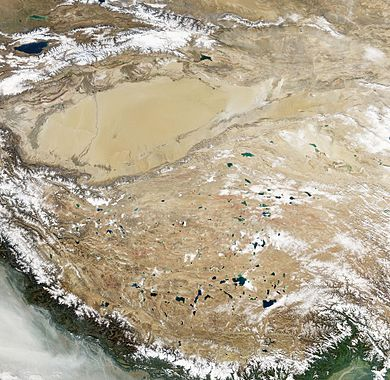 Natural-colour satellite image of the Tibetan Plateau Jewel-Toned Lakes of the Qinghai-Tibet Plateau.jpg