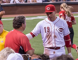 Joey Votto - Votto grabbing shirt of fan who interrupted Votto's attempt to catch a foul ball