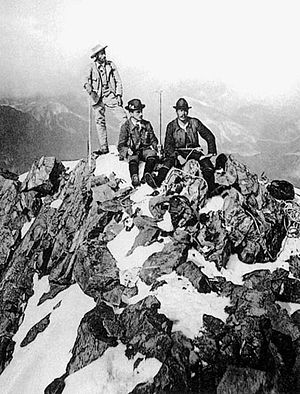 Johann Coaz - Coaz and the Tscharner brothers on the summit of Piz Bernina during the first ascent, 13 September 1850