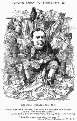 John Holker - Caricature from Punch, 1881