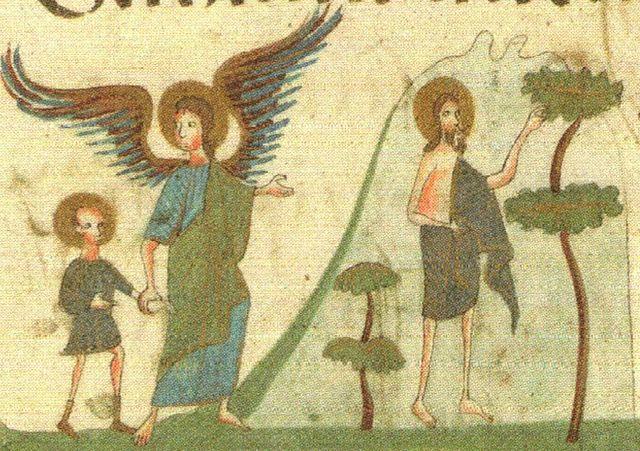 Иоанн Предтеча в пустыне с ангелом. Миниатюра Елисаветградского Евангелия.