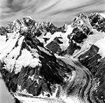 Johns Hopkins Glacier, Mount Lituya and Mount Salisbury, tidewater glacier and hanging glaciers, August 27, 1969 (GLACIERS 5499).jpg