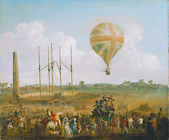 Vincenzo Lunardi - George Biggin's ascent in Lunardi's balloon (Julius Caesar Ibbetson, 1785)