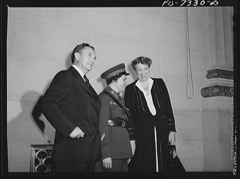 Justice Robert Jackson, Eleanor Roosevelt and Liudmila Pavlichenko