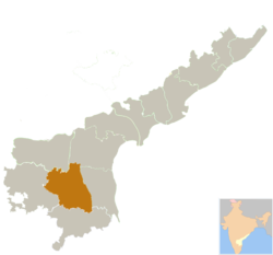 Location of Kadapa district in Andhra Pradesh