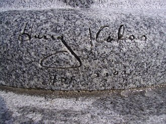 "Harry Kalas - Replica of Kalas's autograph on base of microphone on tombstone, including ""HOF 2002"" which Kalas added after receiving the Ford C. Frick Award"