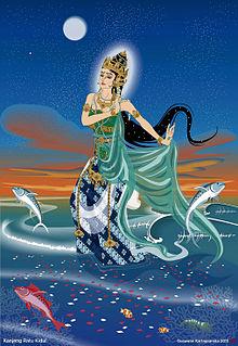 Gambaran populer wujud Nyai Rara Kidul, mengenakan pakaian berwarna