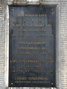 Karl von der Mühll-His (1841–1912) Dr. Phil., Professor, Grabinschrift auf dem Friedhof Wolfgottesacker, Basel