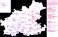 Karlheinz Jakob-Dialekt und Regionalsprache im Raum Heilbronn. Teil 2, Kartenband. Karte 78 -Orte mit ostfränkischer Prägung - flachzungiger Monophthonge für -ei-, so -Lâb- für -Laib--, Marburg 1985.PNG