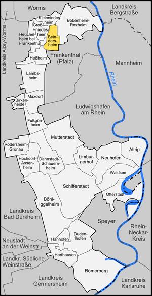 Beindersheim - Image: Karte Beindersheim