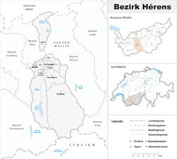 Vị trí của Huyện Hérens