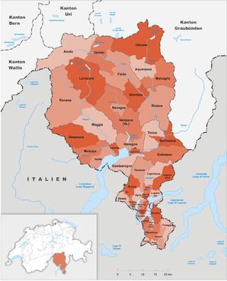 Subdivisions of the canton of Ticino - Circles of Ticino
