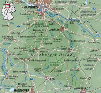 Buchholz in der Nordheide - Image: Karte Lueneburger Heide