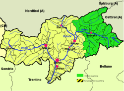 Puster Valley (highlighted in green) within South Tyrol