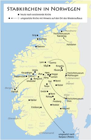 Karte Südnorwegen.Liste Der Stabkirchen Wikipedia