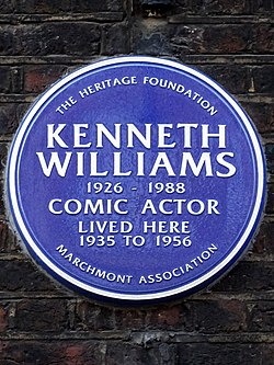 Photo of Kenneth Williams blue plaque