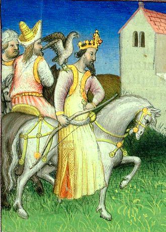 David VII of Georgia - David VII on a hunt. A miniature from Marco Polo's Livre des merveilles, c. 1410 (BNF Fr2810, f. 8r)