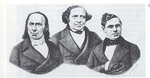 Kley (links) mit den Hamburger Predigern Salomon und Frankfurter. (Quelle: Wikimedia)