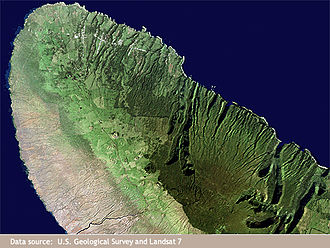 Kohala, Hawaii - This Landsat satellite image of Kohala shows the effect of trade winds on vegetation and valley erosion
