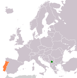 Map indicating locations of Kosovo and Portugal