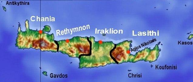 Kreta topo prefekturen inseln