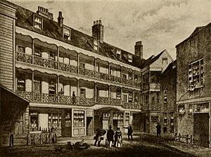 Inn-yard theatre - The Bell Savage Inn's inner courtyard, an inn dating back to 1420 but rebuilt in 1666. This picture shows its appearance in the 19th century, shortly before demolition.