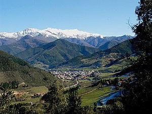 Liébana - View of the village of Potes, comarcal capital of Liébana