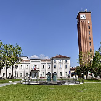 Vinovo - Marconi square with garden, fountain, Town Hall - Clock Tower on the right side
