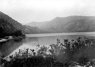 Lake Eleanor - Lake Eleanor in 1896, viewed from the tram near its outlet, looking northeast.