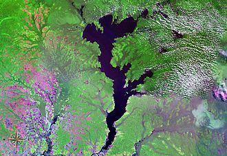 Lake Mai-Ndombe - seen from space (false color)