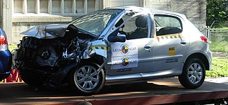 Latin NCAP - A Peugeot 207 Compact following a Latin NCAP frontal crash test at the Facility for Engineering of the Universidad de la República in Montevideo, Uruguay.