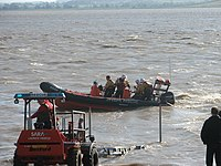 Launching the SARA lifeboat from Beachley slip - geograph.org.uk - 1237990.jpg